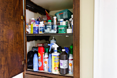 Two very messy cabinet shelves