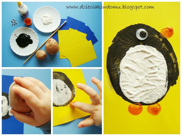 pingwinek ze stempelków z ziemniaka - zimowe zabawy dla dzieci