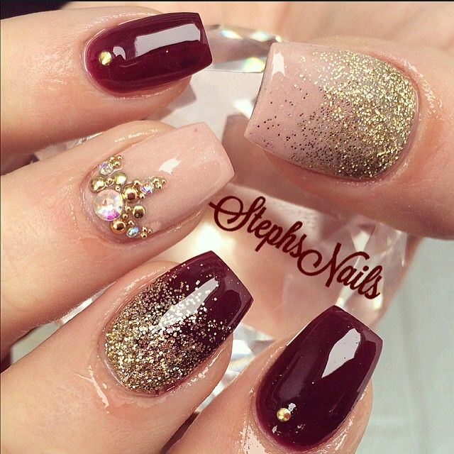 Nail Art With Studs And Glitters Love The Wine Colored Polish