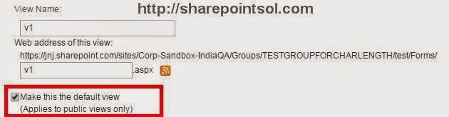 SharePointsol - Select Default view