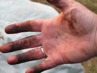 hand covered in stain