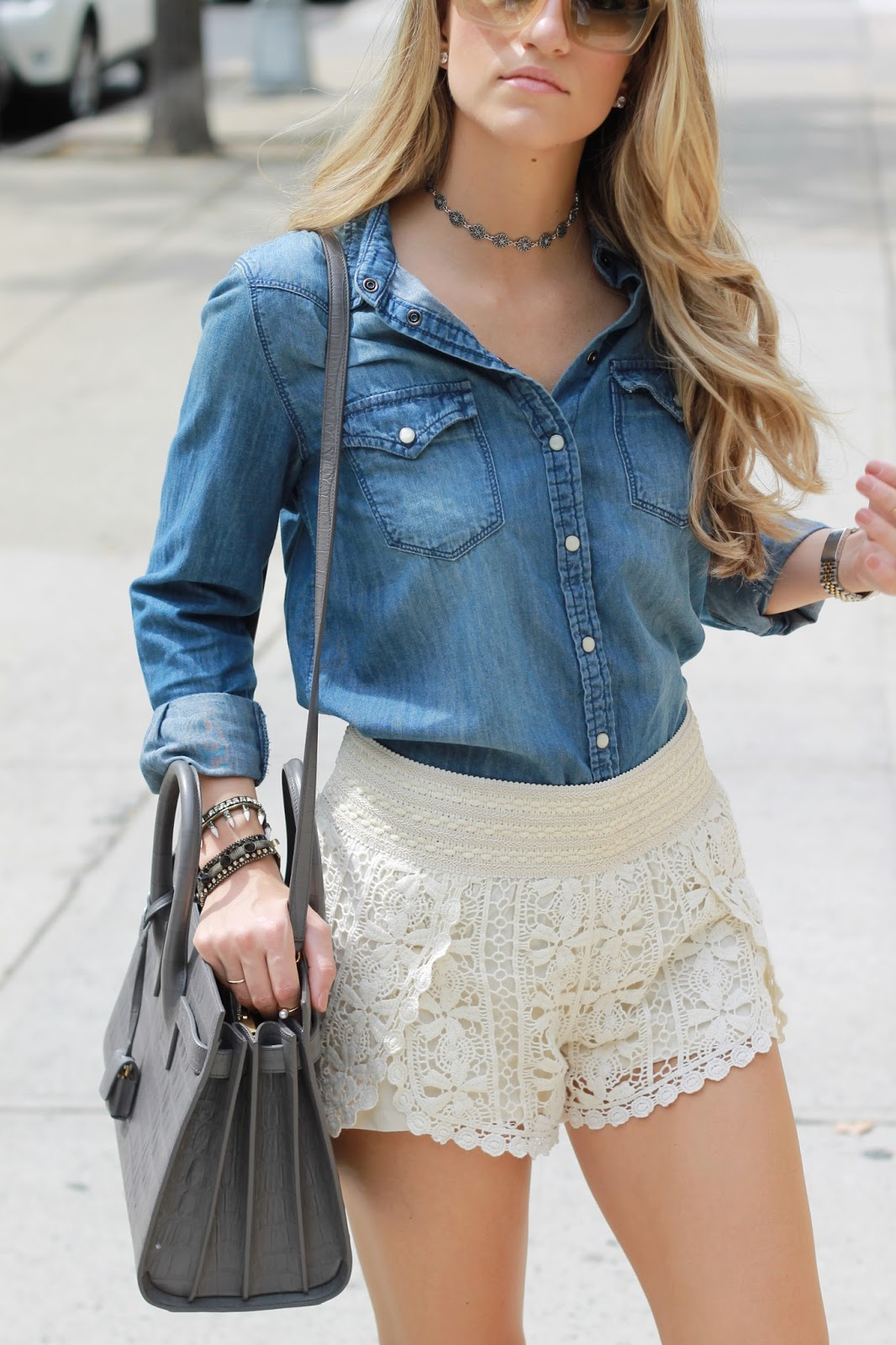 free people chambray shirt, crochet shorts topshop