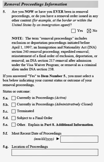 Image of page 1 of daca application renewal form about removal deportation
