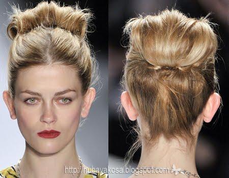 Прическа с път през средата и вдигната коса