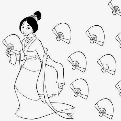 L 39 ventail de mulan coloriage princesse imprimer disney - Mulan coloriage ...