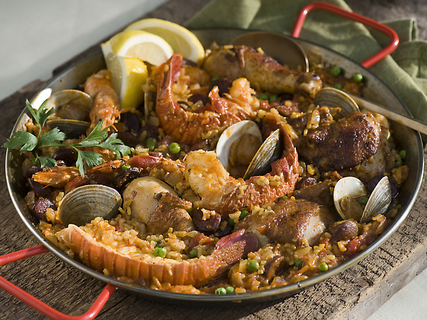 My Favorite Things: Paella with Seafood, Chicken, and Chorizo