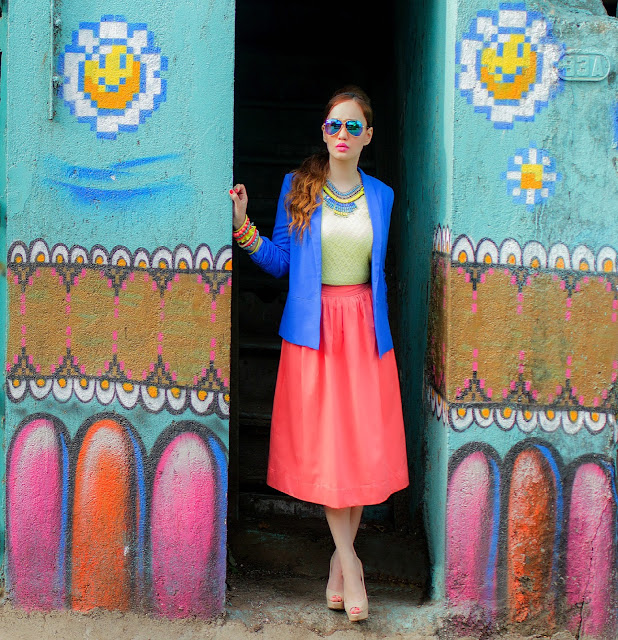 Cobalt Blue Blazer, Yellow Top & Orange Midi Skirt, Vero Moda