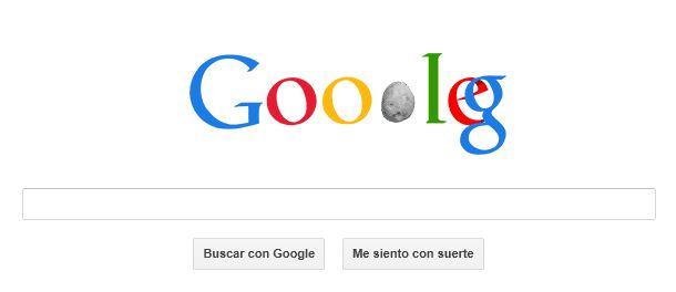 Doodle de Google sobre el paso del asteroide 2012 DA14