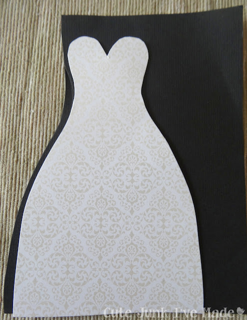 Homemade Wedding Card - dress on black paper