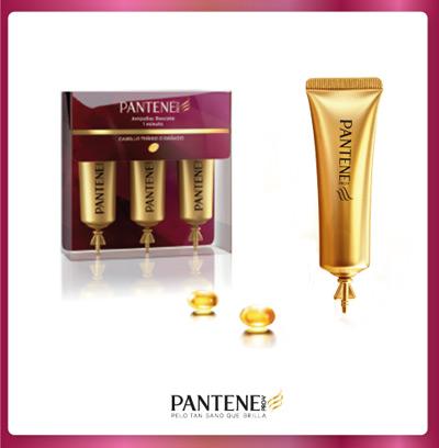 ampollas rescate 1 minuto de Pantene de la nueva colección Fuerza y Brillo para cabellos teñidos y dañados