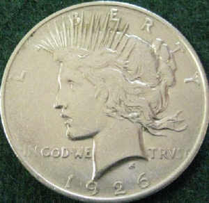 Clean silver coin - Peace Dollar