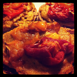 Mini Roasted Tomato Pizzas with Basil Cashew Cheeze