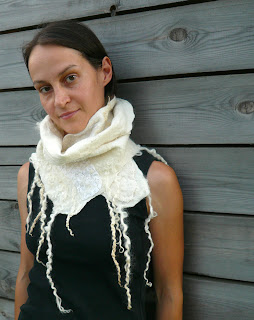 white scarf, women, wool, nuno felted