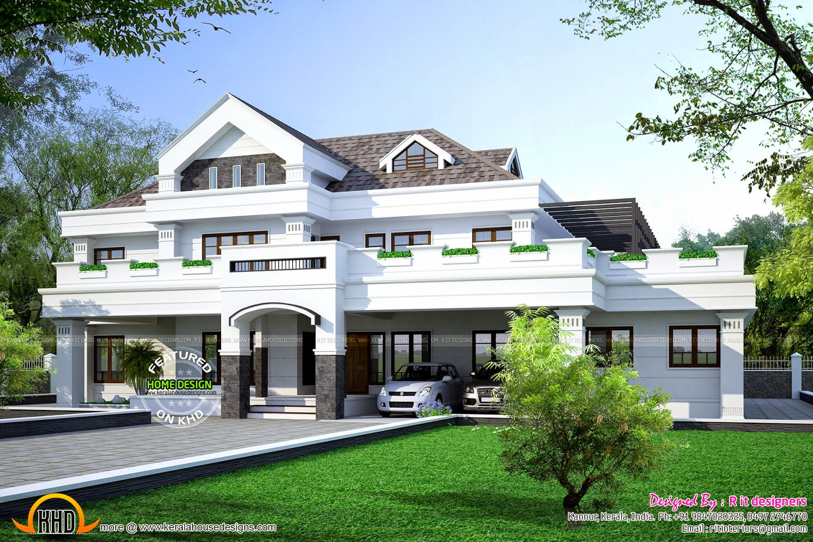5649 sq ft 5 bhk house exterior kerala home design and for Luxury house exterior designs