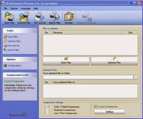 bagaimana cara memperkecil size image atau gambar dengan menggunakan sebuah software gratis (freeware)  yang bernama Software Fileminimizer Pictures