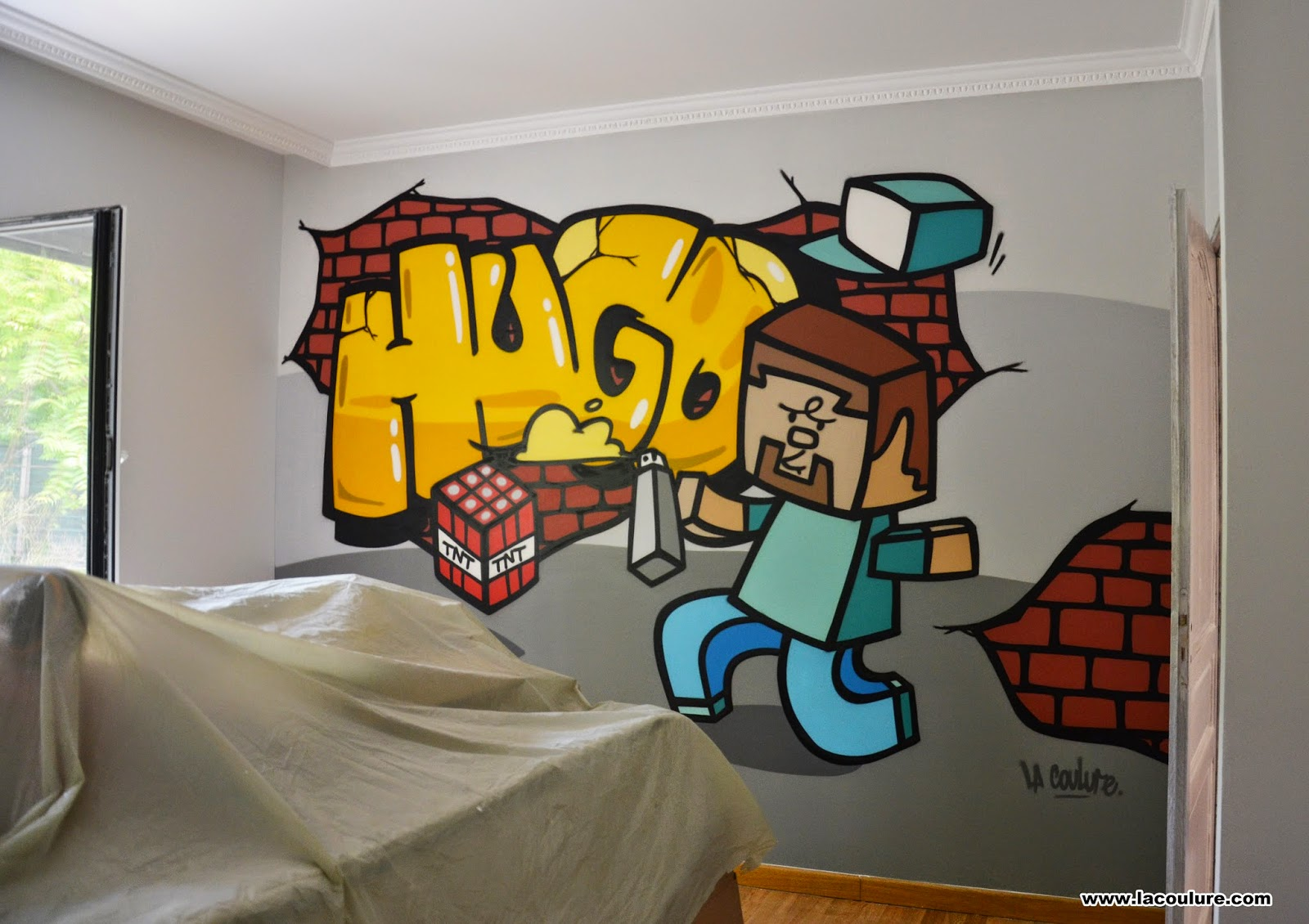 collectif la coulure graffiti lyon chambre d 39 enfant minecraft. Black Bedroom Furniture Sets. Home Design Ideas