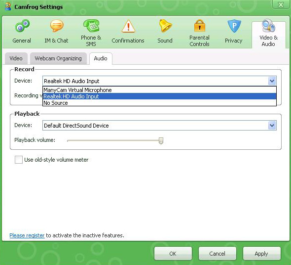 Setting Camfrog Take Mic Windows XP