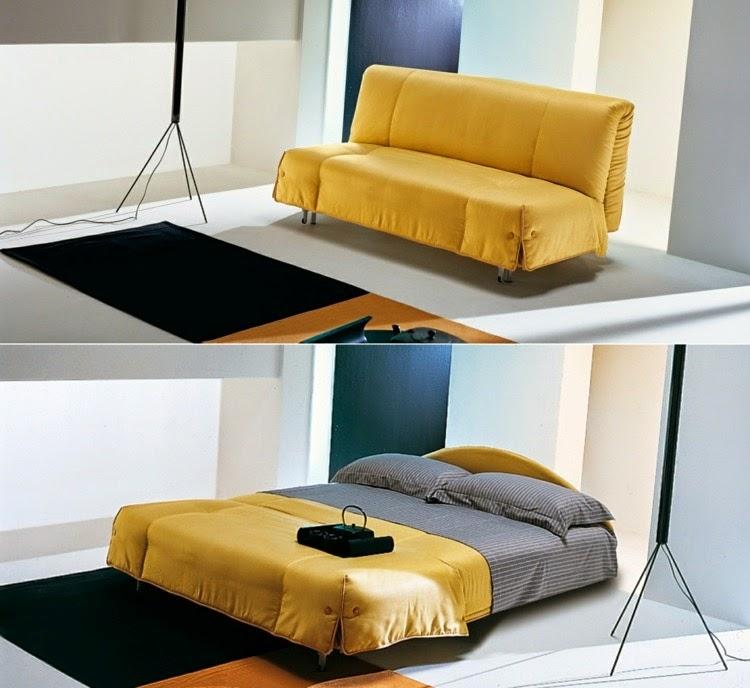 Amazing sofa designs for small living room interiors for Sofa bed yellow