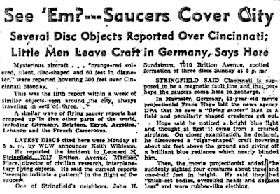 Flying Saucers Hover Over Cincinnati; Similar Accounts Reported Around The World