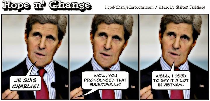 obama, obama jokes, political, humor, cartoon, conservative, hope n' change, hope and change, stilton jarlsberg, charlie hebdo, paris, terror, kerry, je suis charlie