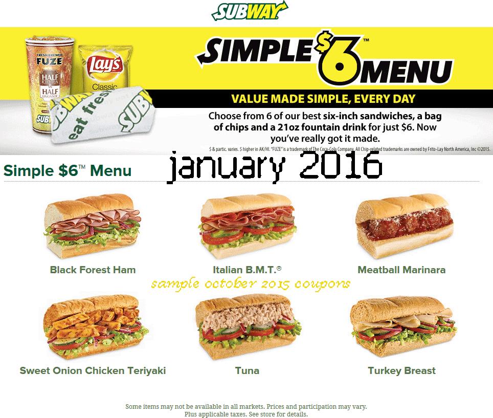 Subway discount coupon