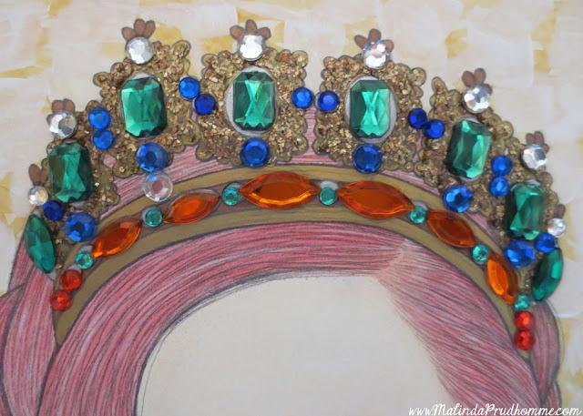 portrait, portrait artist, toronto portrait artist, bejeweled beauties, beauty art, beauty, gems, gold, mixed media art, mixed media artist, uk, london, england, toronto, canada, exhibit here, natural beauty, all women are beautiful, travel artist