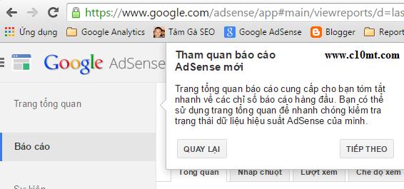 trang tổng quan mới google adsense www.c10mt.com