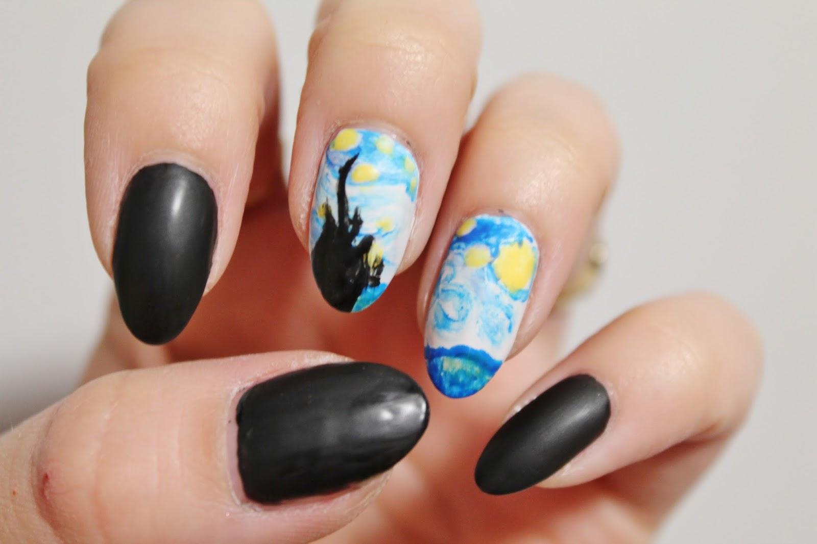 Van Gogh Starry Night Nail Art Jersey Girl Texan Heart