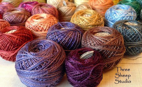 Valdani Variegated Perle Cotton Thread on www.ThreeSheepStudio.blogspot.com