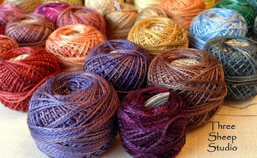 Valdani Variegated Perle Cotton Thread on www.ThreeSheepStudio.blogspot.com