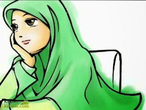 Gambar Kartun Sedih Cewek Cantik Berjilbab Muslimah