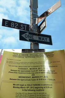Law & Order:SVU location shoot notice NYC UES