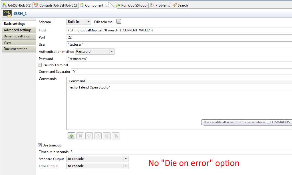 User Defined Exception Handler For Standard Talend Components Bdd