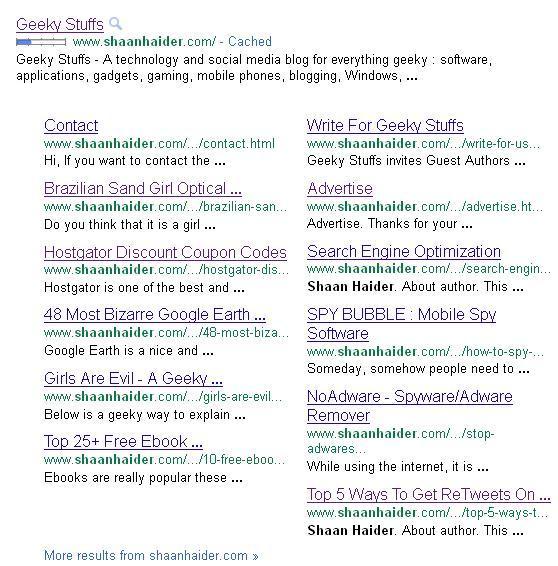 GEEKY STUFFS Is Having 12 Google Sitelinks Now