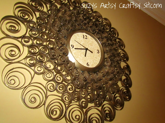 recycled toilet paper tubes faux brass wall clock11