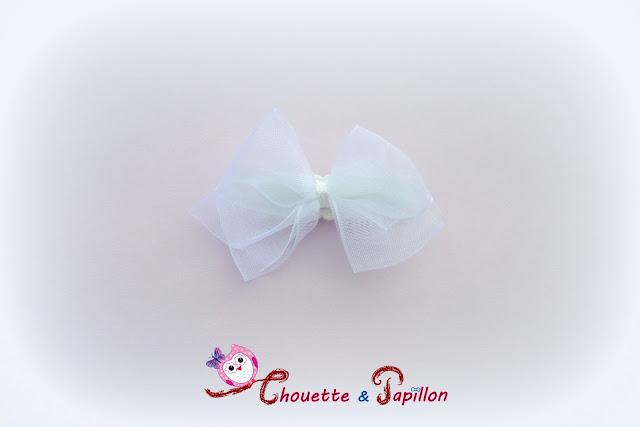 barrettes bébé anti glisse noeud blanc