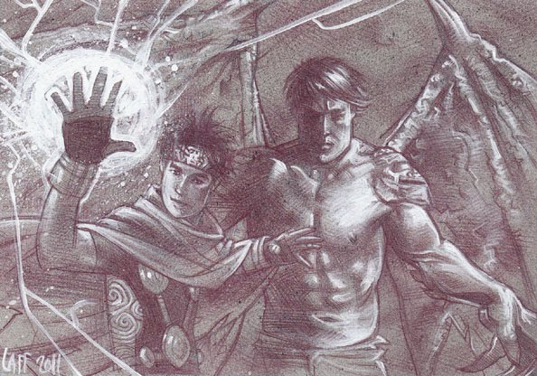 Wiccan and Hulking (Pencil study) ACEO Sketch Card by Jeff Lafferty