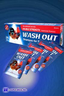 Wash out shampoo adalah perawatan khusus diformulasikan dan kondisioner bulu untuk kontrol dan pencegahan kutu, tangau, dan kutu dari ayam sabung  ini memberikan lapisan mengkilap pada bulu ayamdan berkilau  meningkat sehaat dan bersih  terbukti no bau