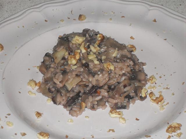 risotto funghi, radicchio e noci