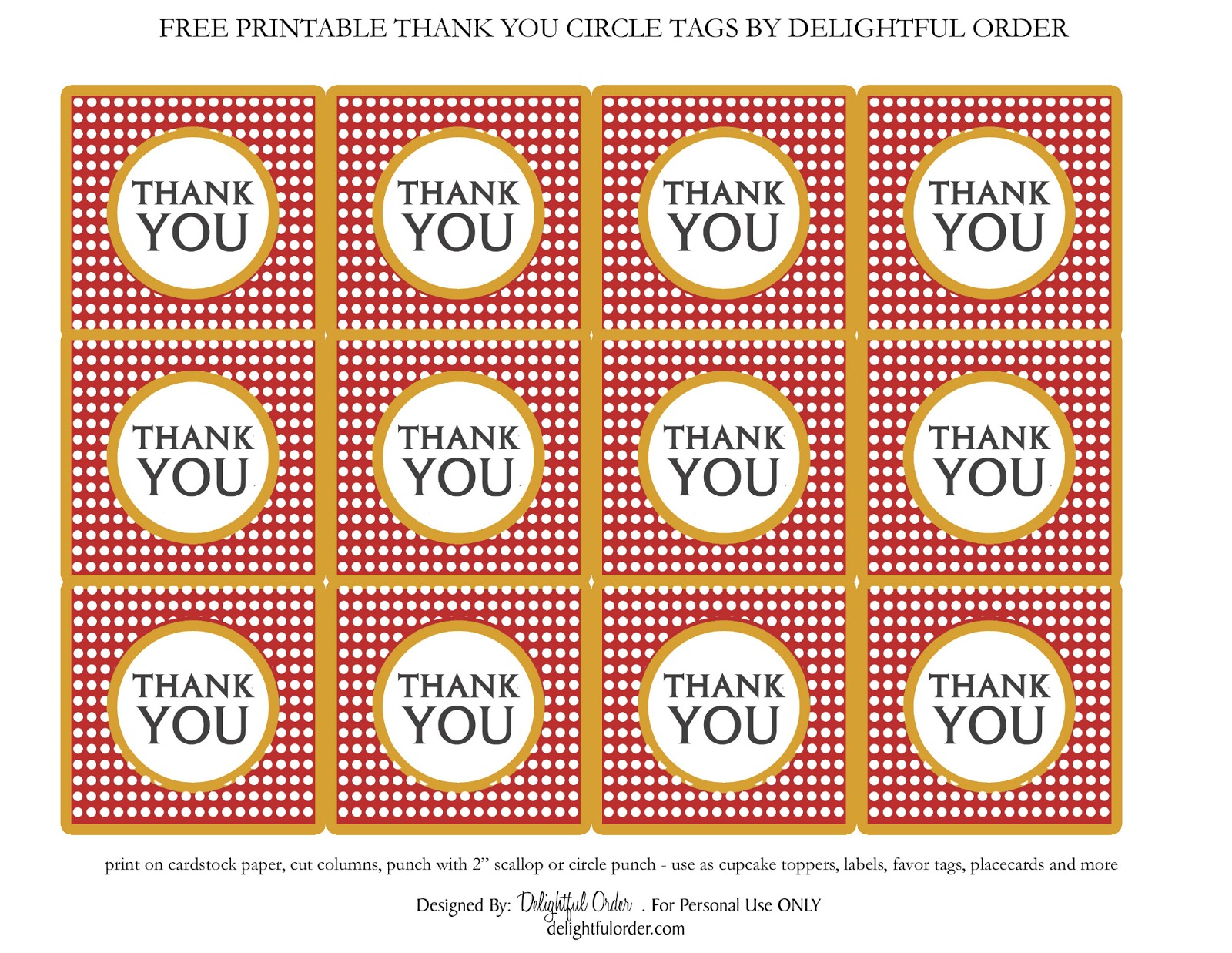 Delightful Order: Free Printable Thank You Circle Tags