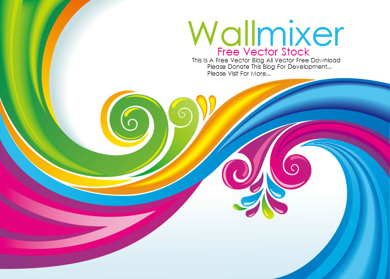 Free Vector Stock: Rainbow Floral Swirls Vector Free Download