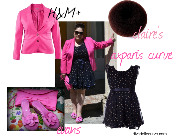 outfit plus size con abito a pois