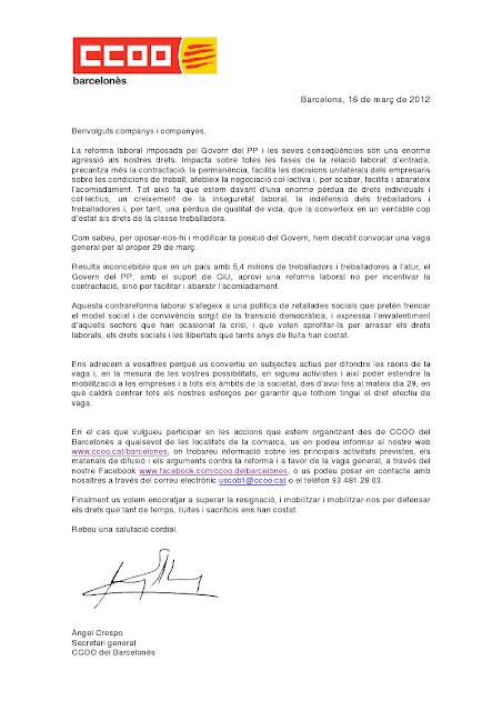 Secci n sindical securitas barcelona comunicado cc oo Comunicado ministerio del interior