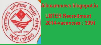 Latest UBTER Recruitment 2014 - Asst Teacher job vacancies 3091
