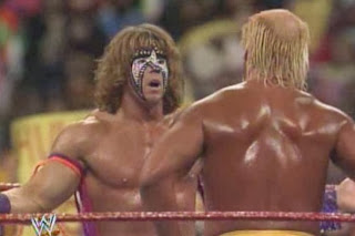 WWF / WWE: WRESTLEMANIA 8 - The Ultimate Warrior embraces Hulk Hogan after coming to his aid against Sid Justice and Papa Shango