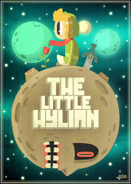 Le petit prince parody with link of zelda. sitting on the majora's mask moon