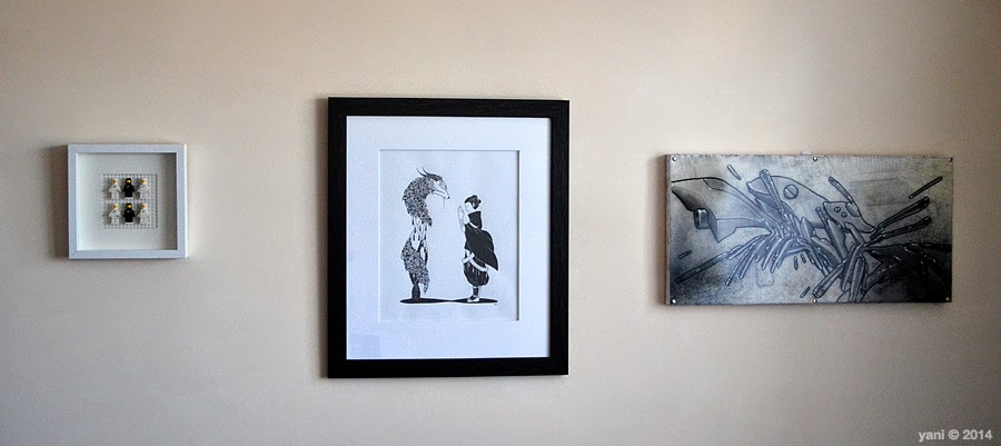 lego spaceman artwork - hanging some black and white spacemen on the wall