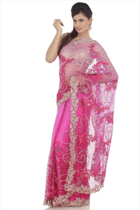 Magenta Net Saree