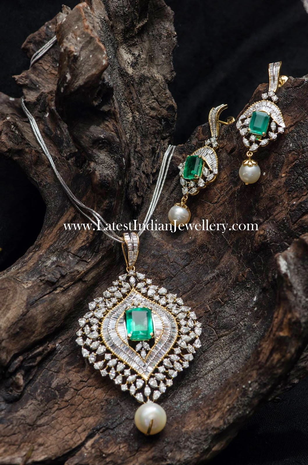 Diamond Pendant Set with Emeralds