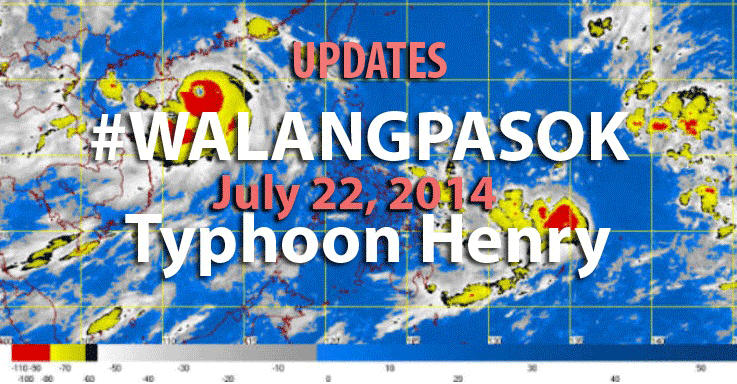Classes in all levels Suspended for Laguna, Quezon, and Cavite on July 22, 2014